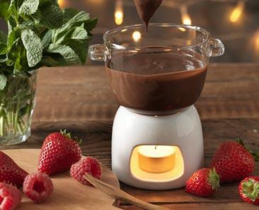 Glazen chocoladefondueset