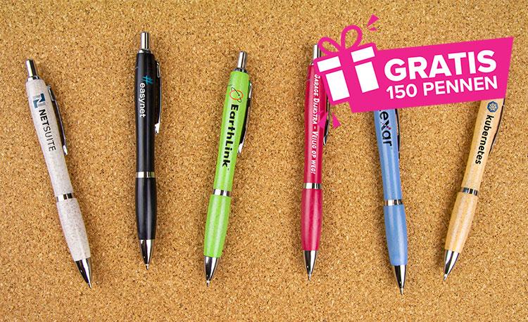Alleen in mei: gratis 150 bedrukte pennen