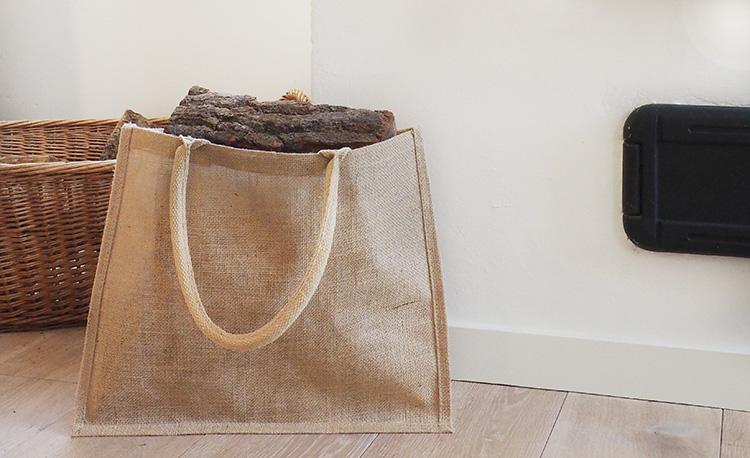 Duurzame jute tas met houtblokken