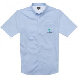 Basic twill heren overhemd korte mouw en borstzak