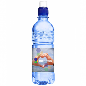 Transparant blauw waterflesje 500ml met sportdop extra grip