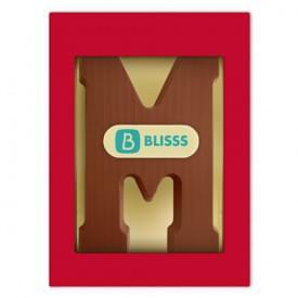 Chocoladeletter melk A t/m Z met marsepein logo