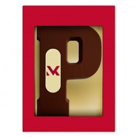 Chocoladeletter puur A t/m Z met marsepein logo