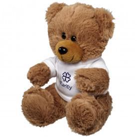 Grote zittende knuffel beer met T-shirt