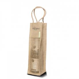 Jute tas met katoen voor 1 (wijn)fles