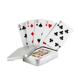 Speelkaarten in blikken doosje