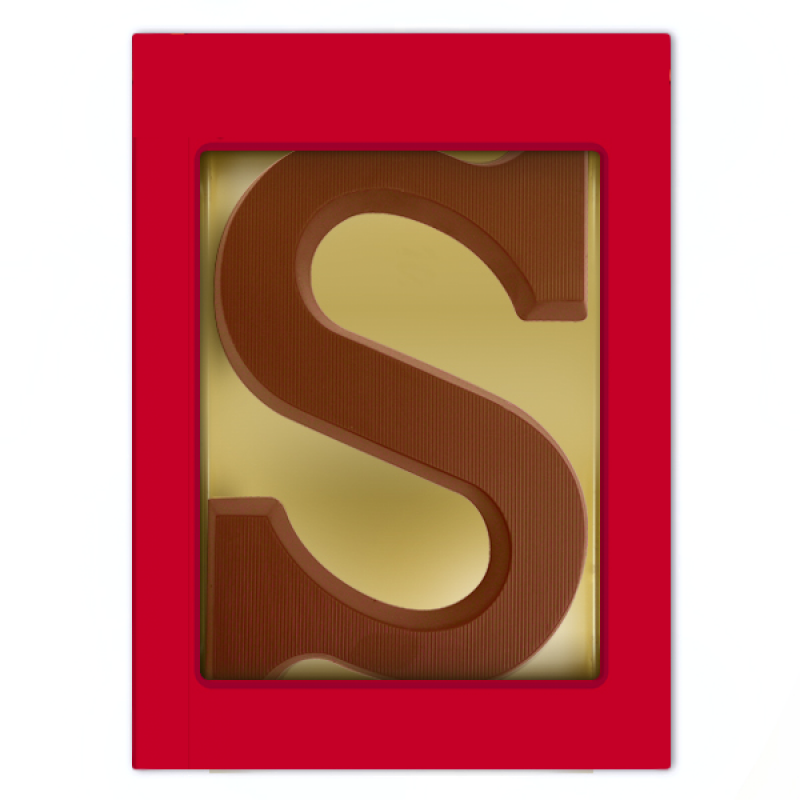 Chocoladeletter met sticker op doosje (80 g)