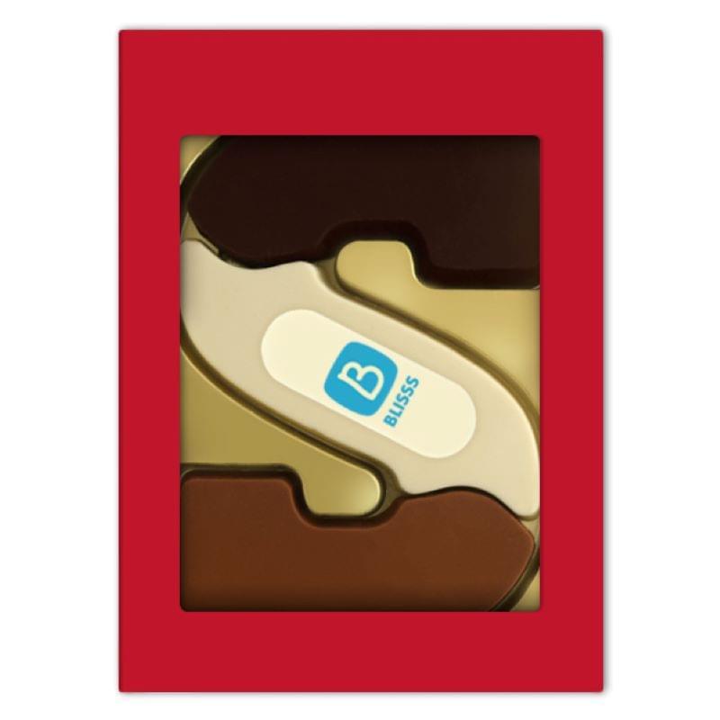 Chocoladeletter met logo S drie smaken