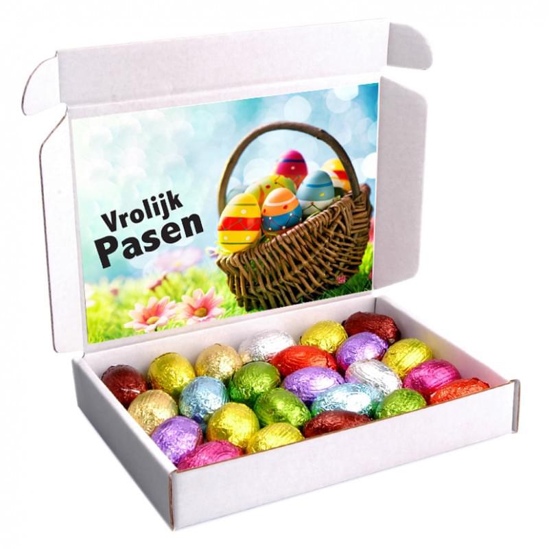 Verzenddoos met 250 gram eitjes met kaart