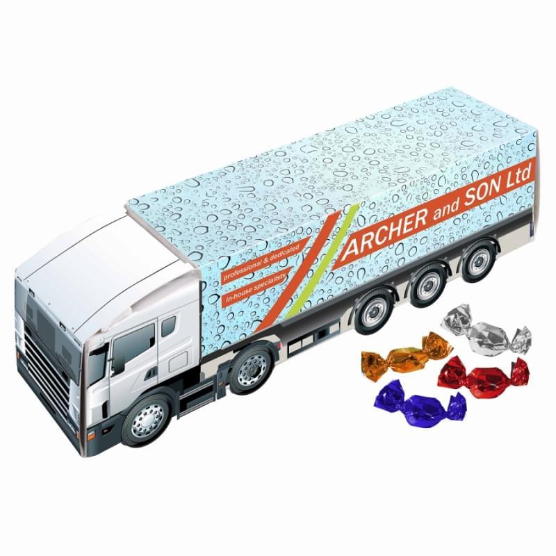 Vrachtwagen gevuld met snoep