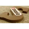 Chocoladeletter S met marsepeinen logoschildje (200 g)