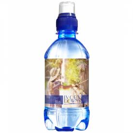 Transparant blauw waterflesje 330ml budget met sportdop