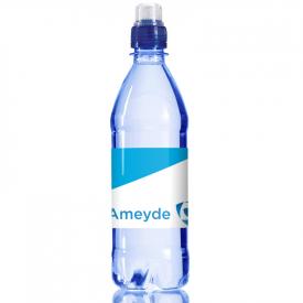 Transparant blauw waterflesje 500ml met sportdop
