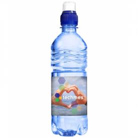 Transparant blauw waterflesje 500ml met sportdop extra grip