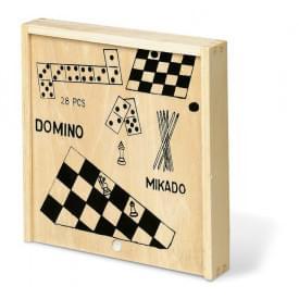 4 spelletjes in houten doos