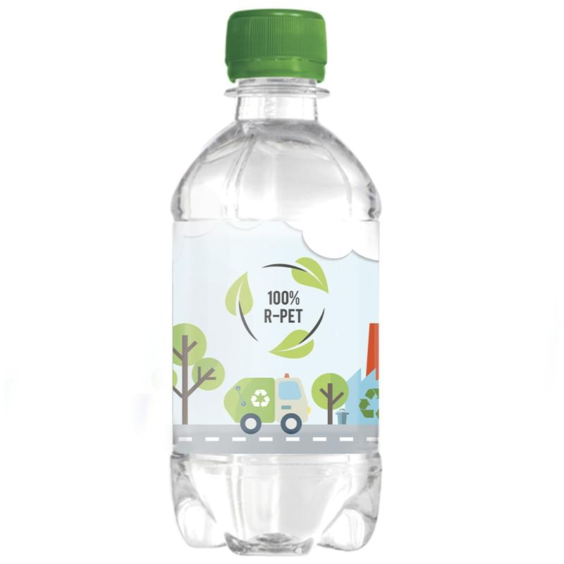 R-PET waterflesjes met platte dop 330ml