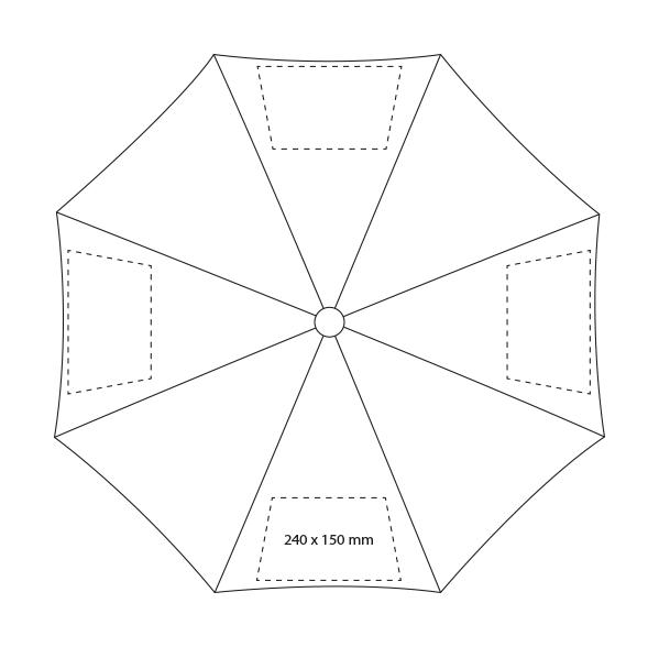 3-delige automatische opvouwbare paraplu - Bedrukking