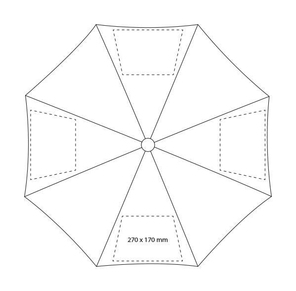 Automatische paraplu met metalen stok en houten handvat - Bedrukking