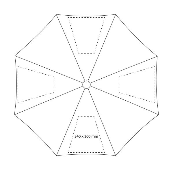 Middelgrote polyester paraplu  - Bedrukking