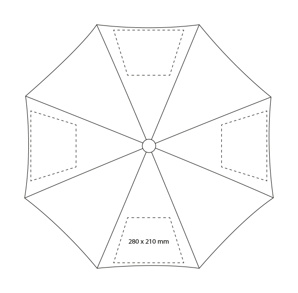 Klassieke paraplu met houten handvat - Bedrukking