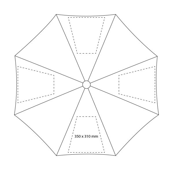 Paraplu met glasfiber baleinen - Bedrukking