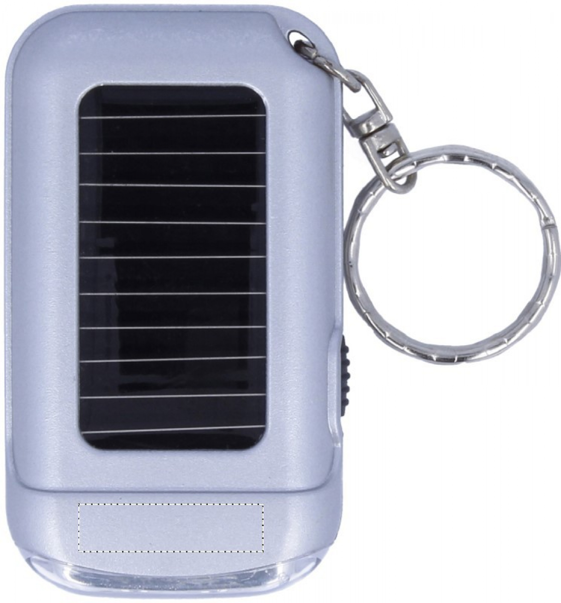 Zilveren sleutelhanger met zaklamp - Below solar cell