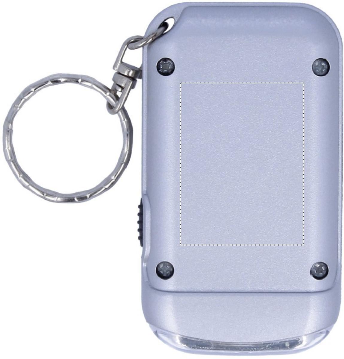 Zilveren sleutelhanger met zaklamp - Back